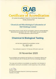 Chemical Laboratory Accreditation Certificate
